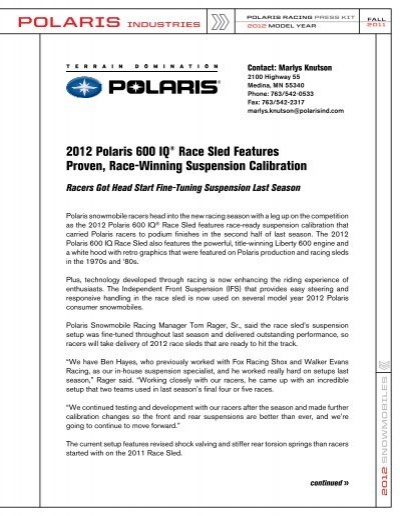 2012 Polaris 600 IQ® Race Sled Features Proven, Race