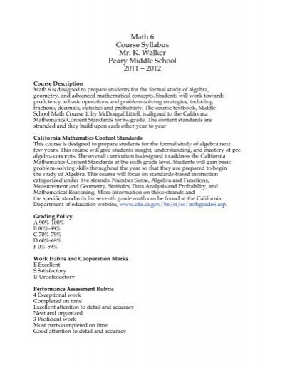 Math 6 Syllabus 2011-12 - Peary Middle School