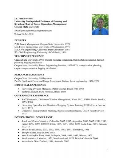 1 Dr John Sessions University Distinguished Professor Of Forestry