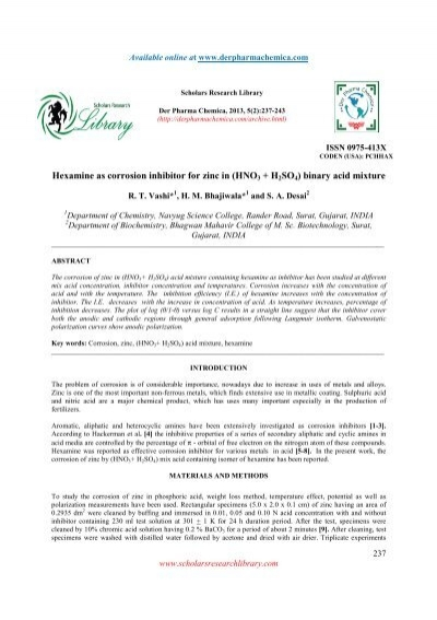 Hexamine as corrosion inhibitor for zinc in (HNO3 + H2SO4