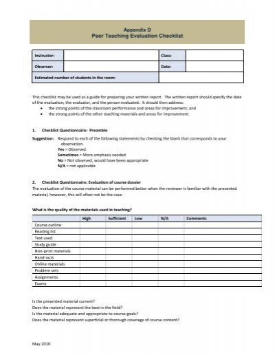 appendix d peer teaching evaluation checklist