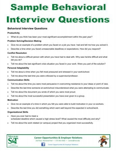 behavioral interview questions missouri st career opportunities