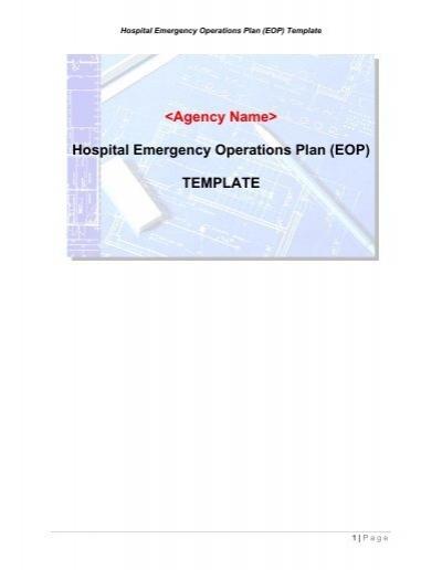 hospital emergency operations plan eop template