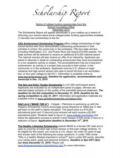 Scholarship Report - J  Sterling Morton High School District 201