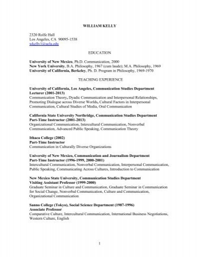 Curriculum Vitae - UCLA Communication Studies