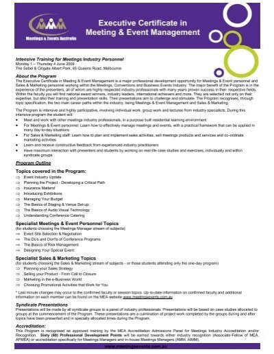Executive Certificate in Meeting & Event Management - Meetings ...