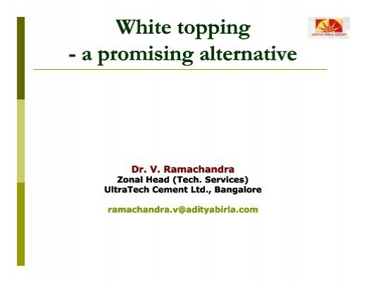 Ultra Tech Cement In Bangalore : White topping a promising alternative teams it