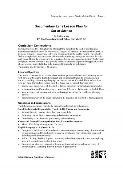 Do Entary Lens Lesson Plan For Out Of Silence Office National