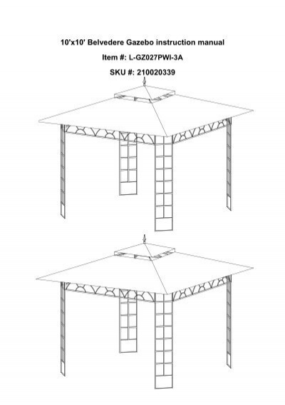 10x10 Belvedere Gazebo Instruction Manual Sku Big Lots