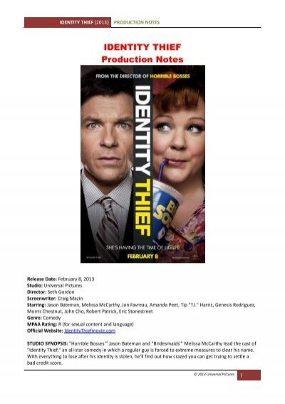 Identity Thief Production Notes Visual Hollywood