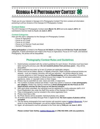 Photography Contest Rules and Guidelines - Georgia 4-H