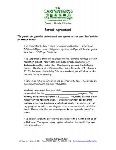 Parent Agreement The Carpenter Shop Preschool