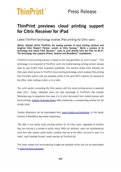 ThinPrint previews cloud printing support for Citrix Receiver for iPad