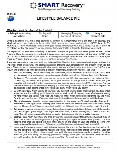 Lifestyle Balance Pie Worksheet Smart Recovery