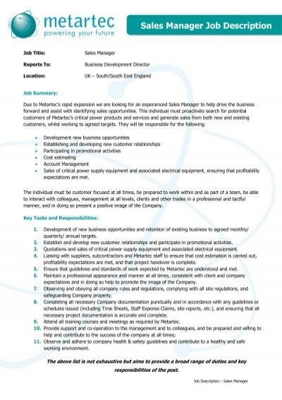 JD13 Sales Manager Job Description Metartec – Development Director Job Description