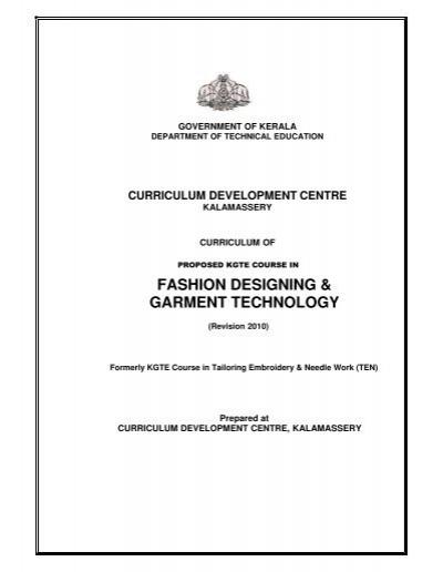 Fashion Designing Garment Technology Curriculum Development