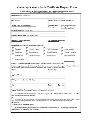 Onondaga County Birth Certificate Request Form