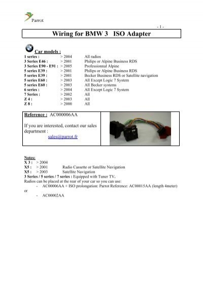 Wiring for BMW 3 ISO Adapter - Parrot
