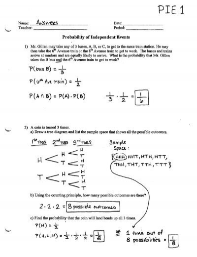 probability of independent events worksheet pie1. Black Bedroom Furniture Sets. Home Design Ideas