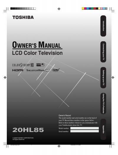 20hl85 owner s manual english toshiba canada rh yumpu com Toshiba Remote Manuals Toshiba Laptop User Manual