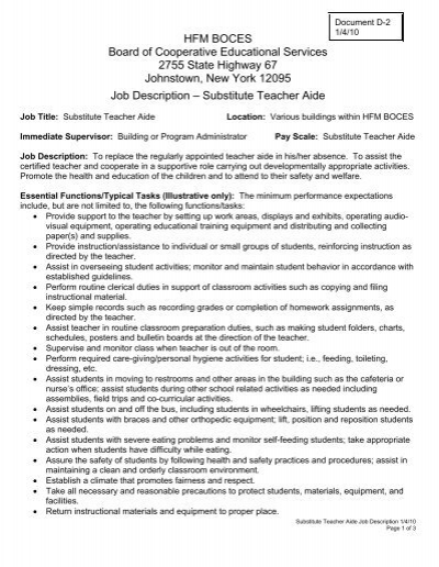 substitute teacher aide job description hfm boces teacher aides job description