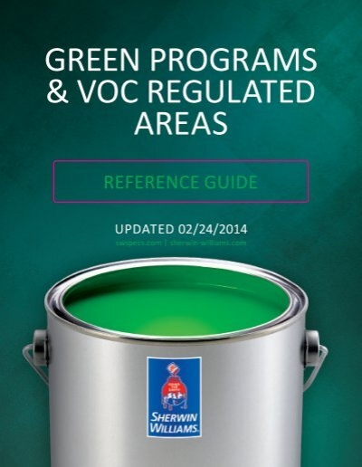 GREEN PROGRAMS U0026 VOC REGULATED AREAS   Sherwin Williams