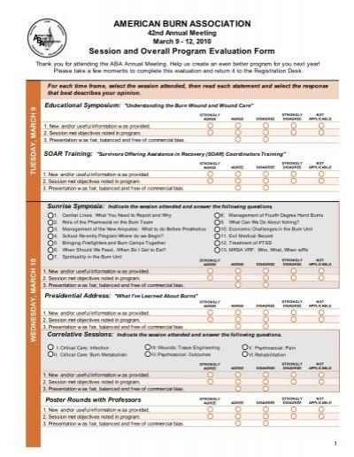Program Evaluation Form - American Burn Association