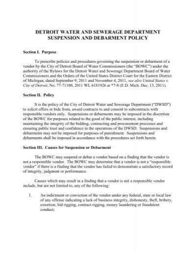Suspension and debarment policy detroit water and sewerage suspension and debarment policy detroit water and sewerage publicscrutiny Image collections