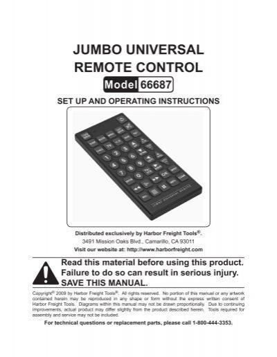 Jumbo Universal Remote Control 66687 Set Up Harbor Freight Tools