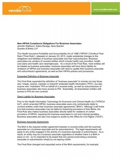 New Hipaa Compliance Obligations For Business Associates