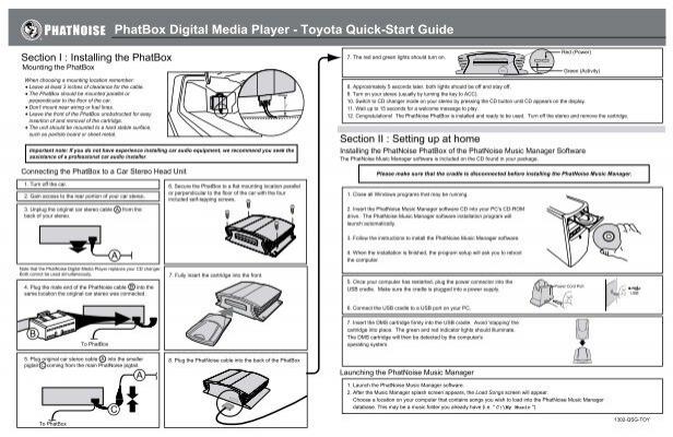 PhatBox Digital Media Player - Toyota Quick-Start Guide