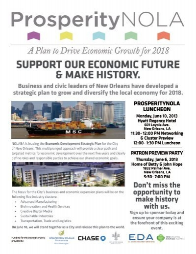 New Orleans What Do We Do Now We Focus >> Support Our Economic Future Make History New Orleans