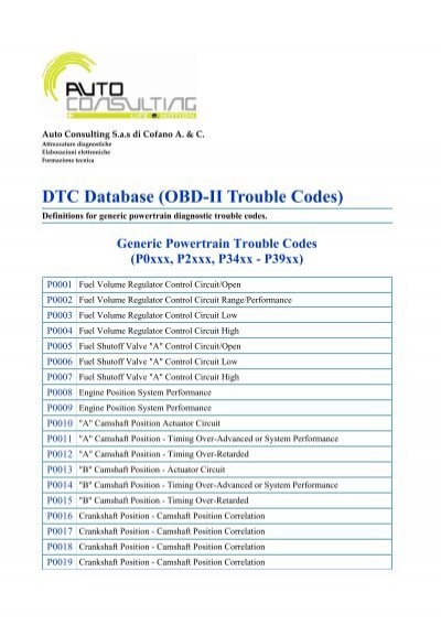 DTC Database (OBD-II Trouble Codes) - Auto Consulting