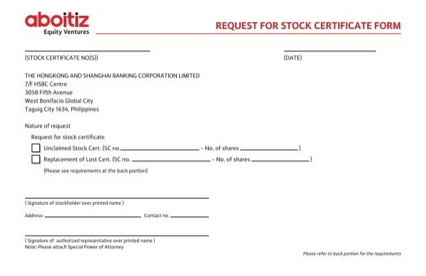 request for stock certificate form - Aboitiz Power