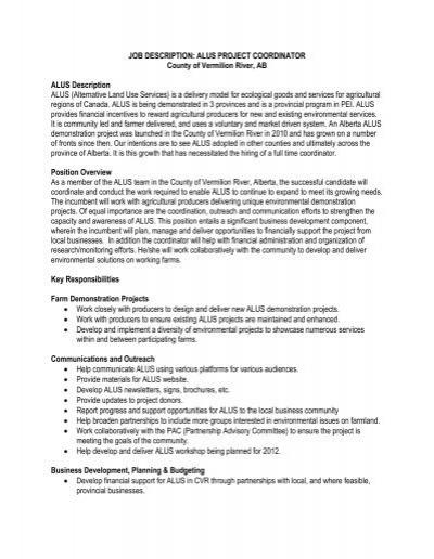 JOB DESCRIPTION ALUS PROJECT COORDINATOR – Project Coordinator Job Description