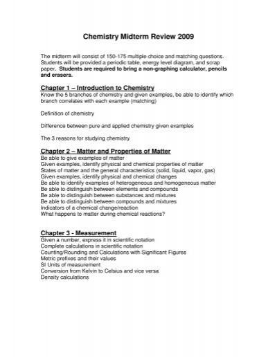 Chemistry Midterm Review 2009 Nohs Teachers