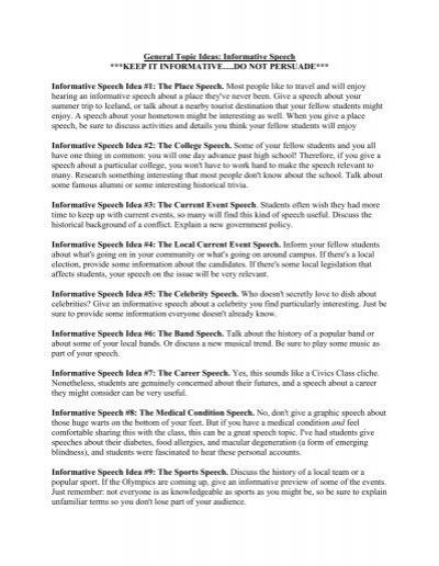 Informative Speech Social Justice Sample Topic Ideas – Informative Speech