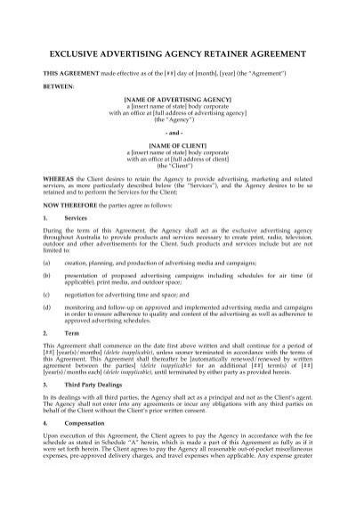 Exclusive advertising agency retainer agreement megadox platinumwayz