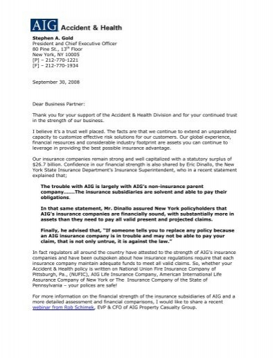 Letter from AIG Accident & Health - Bollinger Insurance
