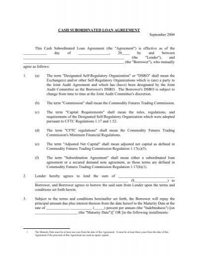 Subordination Agreement – Sample Subordination Agreement