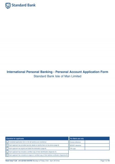 Offshore Personal Account Application Form Standard Bank Offshore