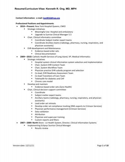 resume  curriculum vitae  kenneth r  ong  md  mph