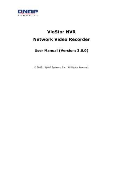 VioStor NVR Network Video Recorder User Manual (Version