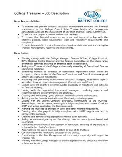 College Treasurer âu20acu201c Job Description