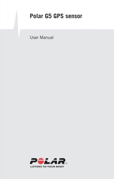 U9 polar g5 speed, distance and gps sensor user manual manual.