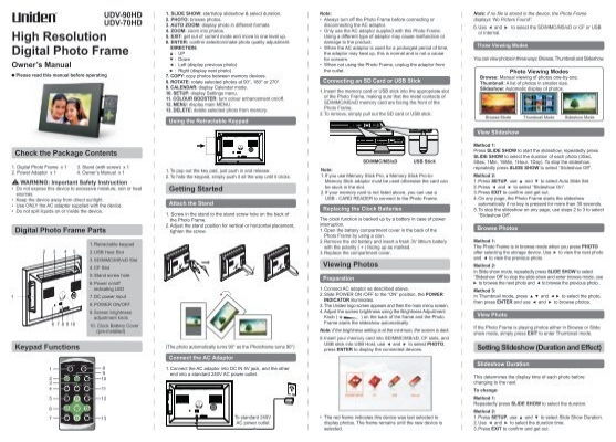 High Resolution Digital Photo Frame Owner\'s ... - Uniden Australia