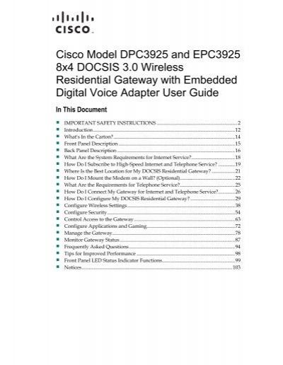 Cisco Model DPC3925 and EPC3925 8x4 DOCSIS 3 0 Wireless - Upc