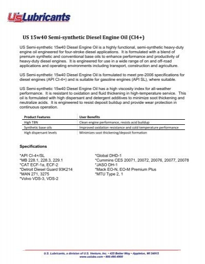 US 15w40 Semi-synthetic Diesel Engine Oil (CI4+) - US Lubricants