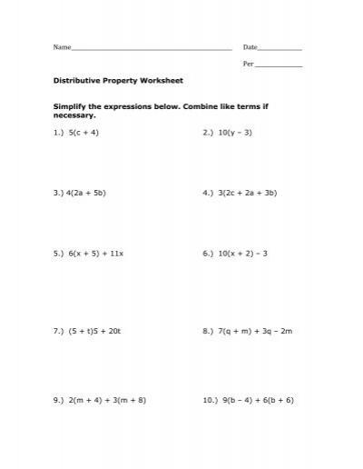 Distributive property worksheets pdf