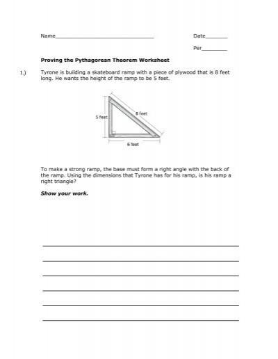 Proving The Pythagorean Theorem Worksheet Mrwalkerhomework